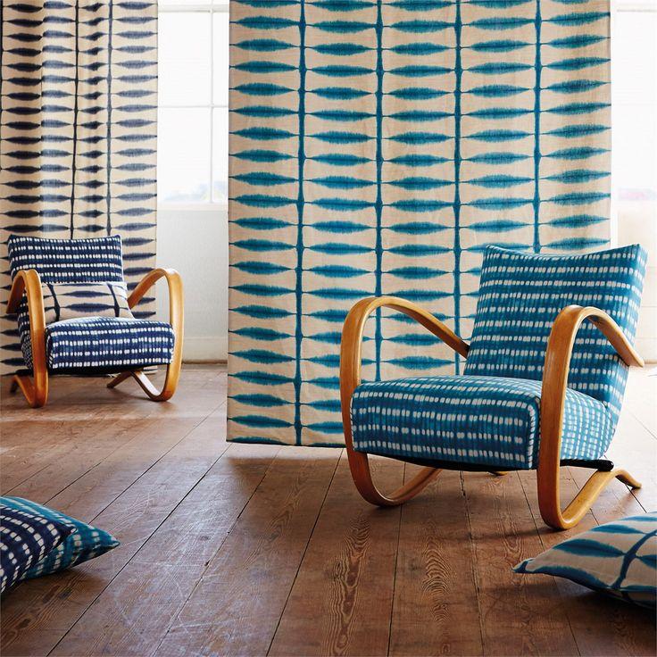 Scion - Designer Fabric and Wallpapers | Products | Kali (NSPI120324) | Spirit Fabrics #fabric #interior #blue #chair #shibori