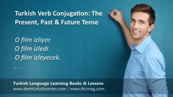 Free Turkish lessons. Turkish verb conjugation. Learn the verb conjugation of the present, past and future tenses in Turkish language. The Present Tense – yor is the suffix for present tenses in Turkish. O şimdi yapıyor. He is doing now.…