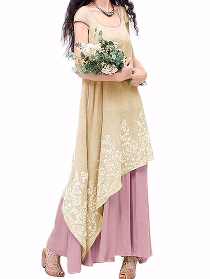 Vintage Floral Embroidered Sleeveless Two Layers Long Maxi Dresses Online - NewChic