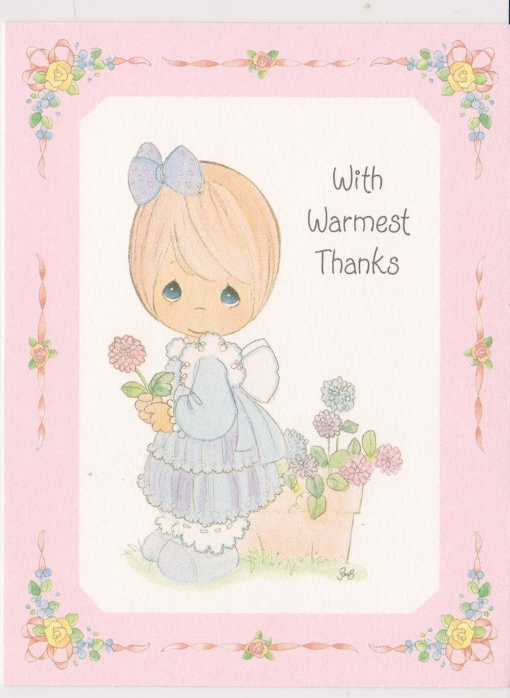 Vintage Precious Moments Thank You Note Card Blank Inside ...