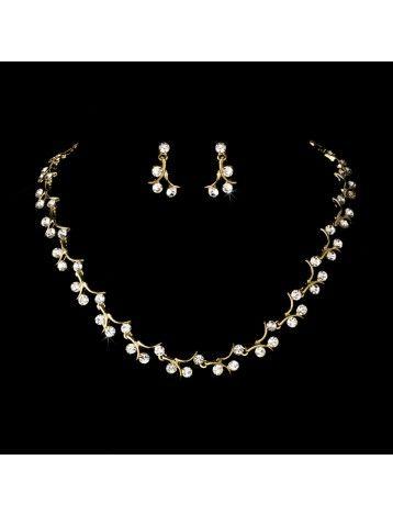 GOLD CRYSTAL VINE NECKLACE & EARRING SET - BRIDAL WEDDING JEWELLERY - Gold Jewellery Sets - Wedding Jewellery Sets - Wedding Jewellery - Wedding Accessories