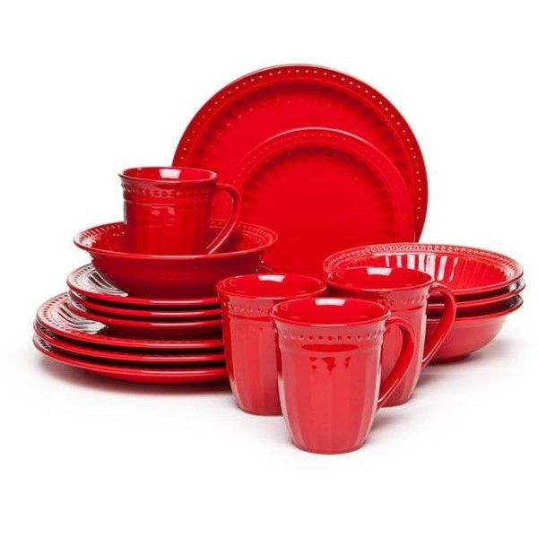 Home Accents Red Palace Red 16-Piece Dinnerware Set (71 BGN) ❤ liked on Polyvore featuring home, kitchen & dining, dinnerware, red, dinner-ware, red dinnerware set and red dinnerware