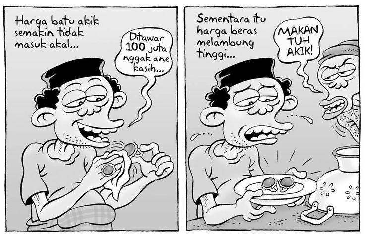 Kartun Benny, Kontan: Harga batu akik semakin tidak masuk akal.