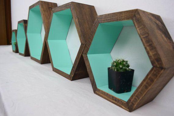 Hexagon Shelf Geometric Shelf Wood by RoamingRootsWoodwork
