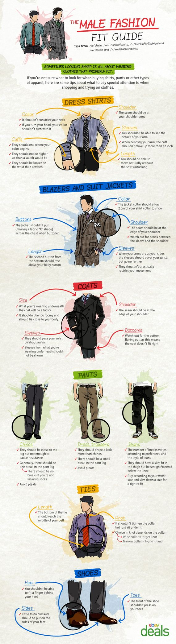 MEN'S FIT GUIDE:  Tips about what to pay attention to when buying pants, shirts or other types of apparel.---> FOLLOW US ON PINTEREST for Style Tips, our current SALES, men's Wardrobe essentials etc... ~ VujuWearMen's fashion fit infographic