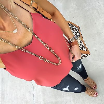Top: Express (Similar Color) | Jeans: Express | Short Necklace: Kendra Scott | Long Necklace: Forever 21 (Similar) | Watch: c/o Fossil | Bracelets: Express | Ring: Rebecca Minkoff (Gift) | Bag: Tory Burch (Option)