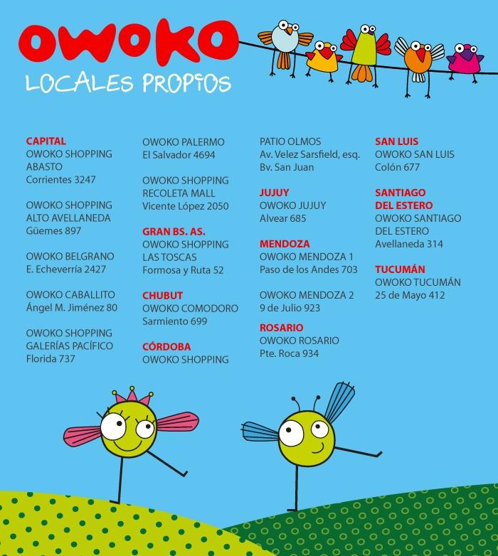 Direcciones de los locales Owoko.