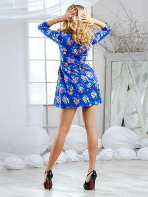 Платье синее в цветочный принт - Cosmo - 2524470