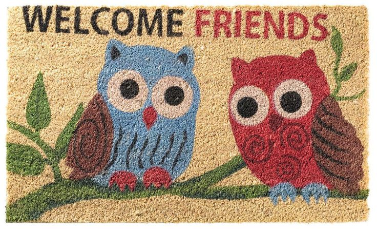 Welcome Friends Owl Pair Natural Coco Printed Coir Doormat