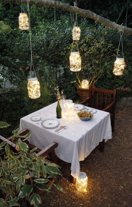 When designing your backyard, don't forget to carefully plan your lighting as well. Get great ideas for your backyard oasis here with our landscape lighting design ideas. Small Backyard Gardens, Backyard Garden Design, Large Backyard, Outdoor Rooms, Outdoor Dining, Outdoor Parties, Country Backyards, Romantic Backyard, Romantic Table
