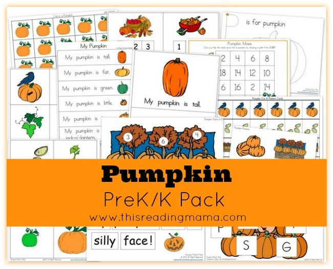 FREE Pumpkin PreK/K Pack | This Reading Mama. Great site with all sorts of printables educational info.