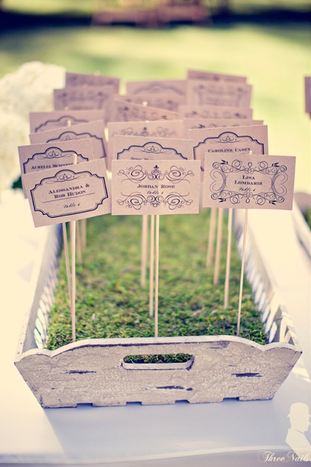 Green table plan - cards on long sticks which are placed into turf or moss in a tray.  They look a little like seed cards,  you could actually add seeds to them and then combine them with wedding favours that can be enjoyed after the wedding.  Guests just find their name and take their favour to their seat.