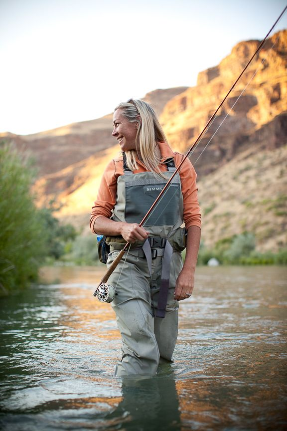 women fly fishing topless