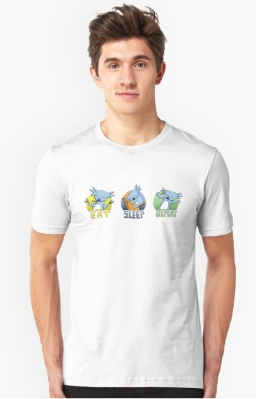 New Cute Koala EAT SLEEP REPEAT Merchandise This months merchandise collection features my very cute koala character in three panels titled 'Eat Sleep Repeat' as that is what koalas do best! This design is available on a range of merchandise including clothing (T-shirts, hoodies,