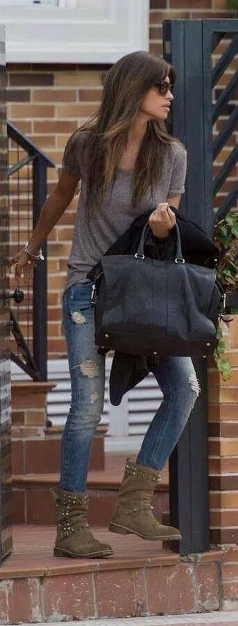 torn boyfriend jeans.. mid length tan biker boots.. grey  t-shirt.. shades.. Why can't I look like this when I leave the house?