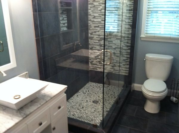 Master Bath Idea - Small Shower - Two Glass Walls - Pebble-like Tile in