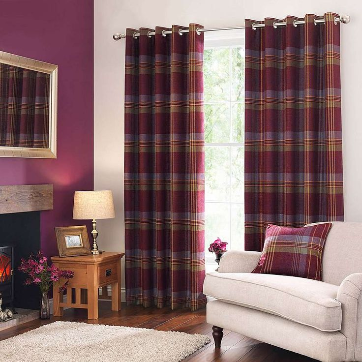 Lewis Check Plum Eyelet Curtains   Dunelm
