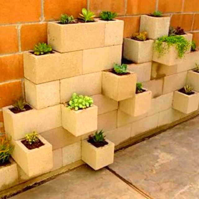 Cinder block planters for narrow spaces ideas for the Herb garden wall ideas