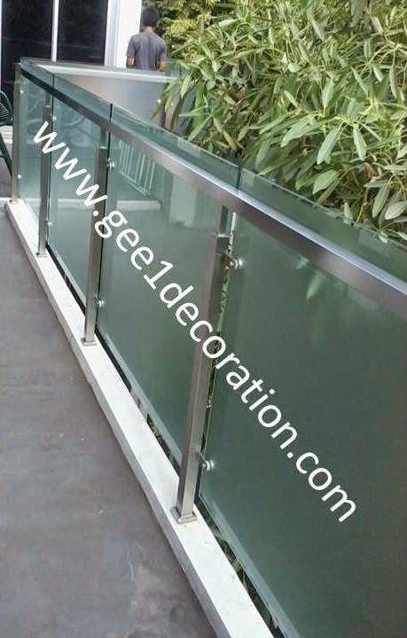 aluminium, kusen, kaca, partisi,  pintu, jendela, lipat, geser, swing, jungkit, pivot, sliding, : railing kaca