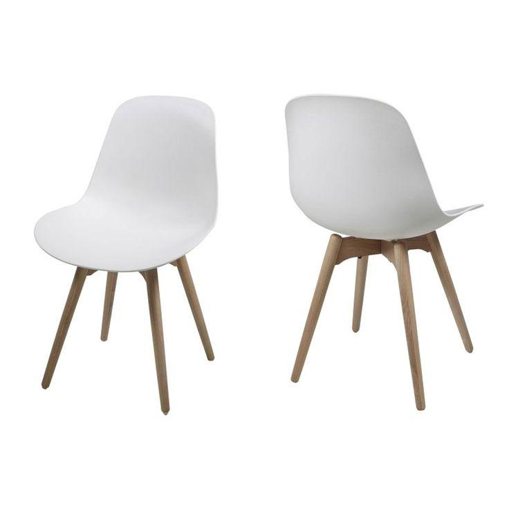 Chaise salle à manger Chaise Carambole Blanc / Chêne (Set de 2) Chaise Carambole Blanc / Chêne (Set de 2)