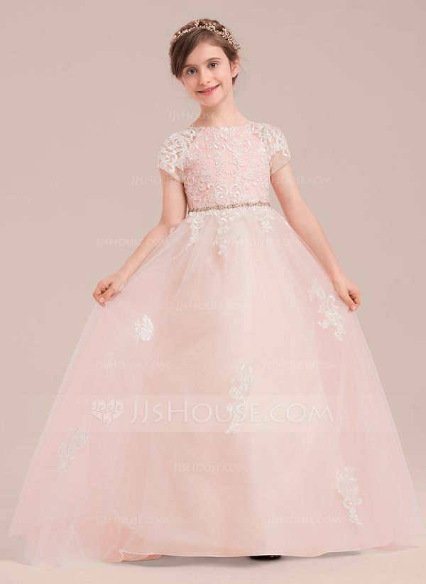 b21d6928e02eb Ball Gown Floor-length Flower Girl Dress - Tulle/Lace Short Sleeves Scoop  Neck With Beading