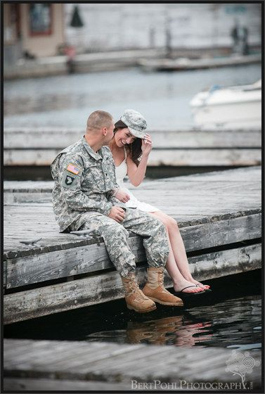 I would like to do engagement pictures like this but he will be in fire gear instead of a military uniform