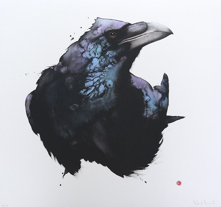 San Francisco-born artist Karl Martens creates beautiful paintings of birds using materials not often paired together - Japanese and Chinese calligraphy br