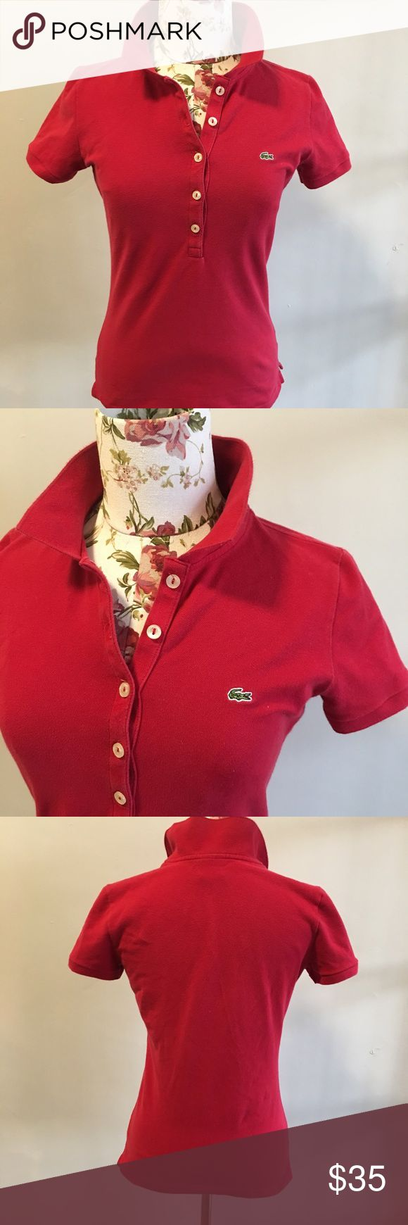 LACOSTE red polo Classic red polo by Lacoste- pulled size chart to show size comparison- EUC- last few photos are stock photos from online as this is too small for me to model- Betty is a size 4-6 for sizing reference as well Lacoste Tops