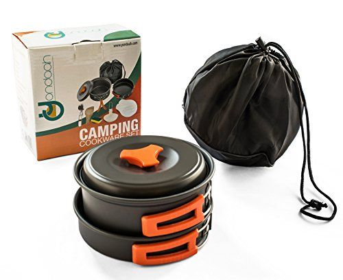 CAMPING COOKWARE SET MESS KIT - Lightweight, Compact and Durable 10 piece Outdoors Hiking Backpacking Camping Cooking Equipment Set in an easy to carry Nylon Bag AND Bonus Folding Spork. For product info go to:  https://all4hiking.com/products/camping-cookware-set-mess-kit-lightweight-compact-and-durable-10-piece-outdoors-hiking-backpacking-camping-cooking-equipment-set-in-an-easy-to-carry-nylon-bag-and-bonus-folding-spork/
