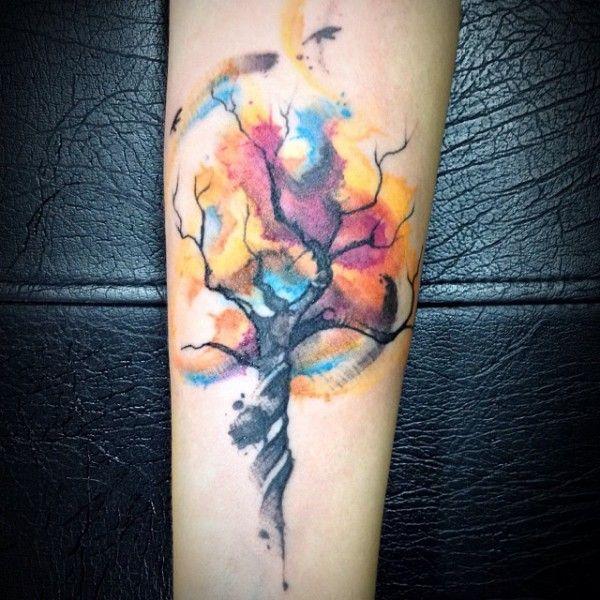 tatuagem em estilo aquarela de Victor Octaviano  Bela, Ems e ...