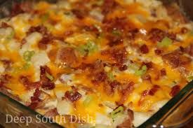 Twice Bake Potato Casserole  2 (4 oz.) pkgs. Idahoan mashed potatoes, any flavor. 1/2 c. sour cream 1/2 lb. crisp bacon (divided) 1 1/2 c. shredded sharp cheddar cheese  Prepare potatoes according to pkg. directions, let cool a bit.  Mix in sour cream, half the bacon, and half the cheese.  Spray 9x13 baking dish with cooking oil.  Pour in potatoes and spread evenly in pan.  Top with remaining bacon.  Bake at 350 for 25 min. Add remaining cheese and bake another 15 minutes.  Serves 6-8.