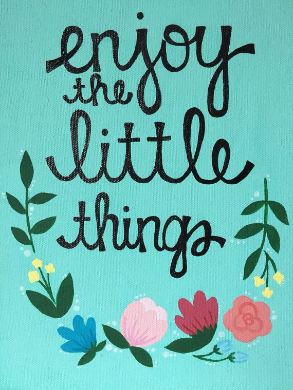 Enjoy The Little Things Quote Canvas Mint By OhMyPoshCanvases
