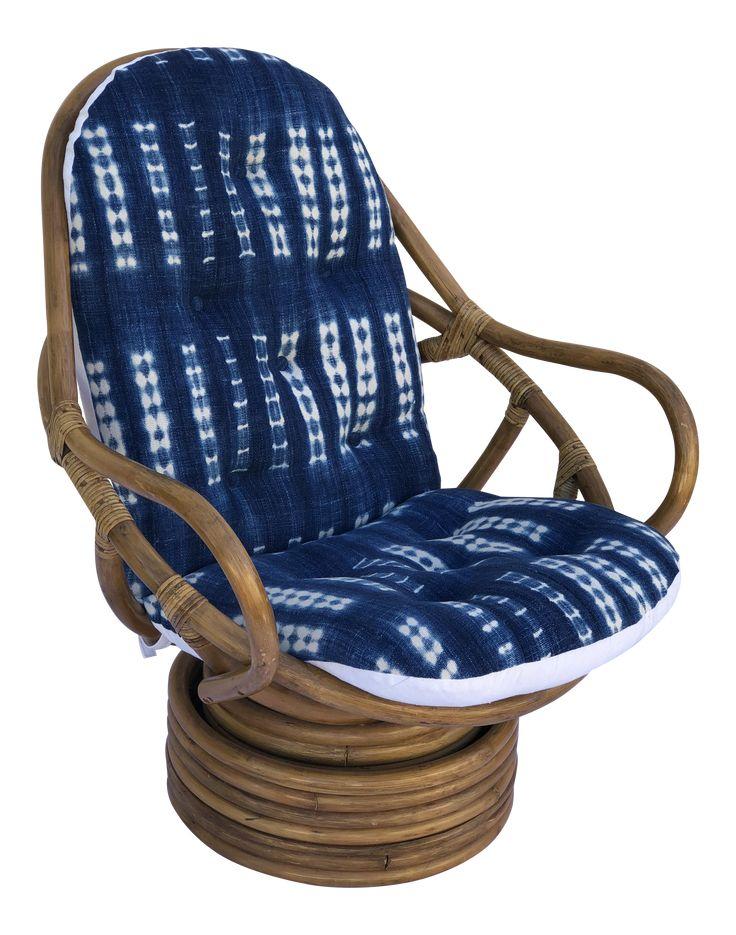 Mid-Century Bamboo Swivel Barrel Chair on Chairish.com