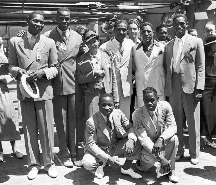 At the 1936 Olympics, 18 black athletes went to Berlin as part of the U.S. team. Pictured here are (left to right rear) Dave Albritton, and Cornelius Johnson, high jumpers; Tidye Pickett, a hurdler; Ralph Metcalfe, a sprinter; Jim Clark, a boxer, and Mack Robinson, a sprinter. In front are John Terry, (left) a weight lifter and John Brooks, a long jumper.