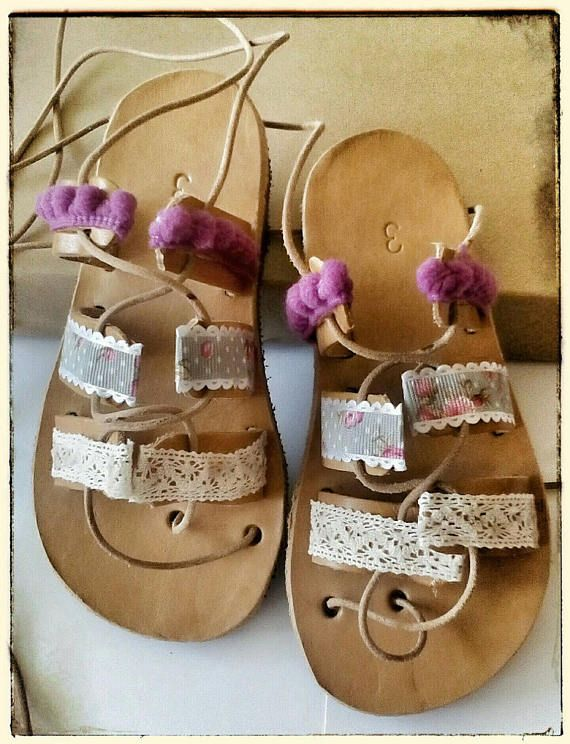 Baby girl sandals, toddler gladiator sandals, pom pom shoes, greek leather sandals, kids, sandals for babies, baby shoes girl, baby sandals