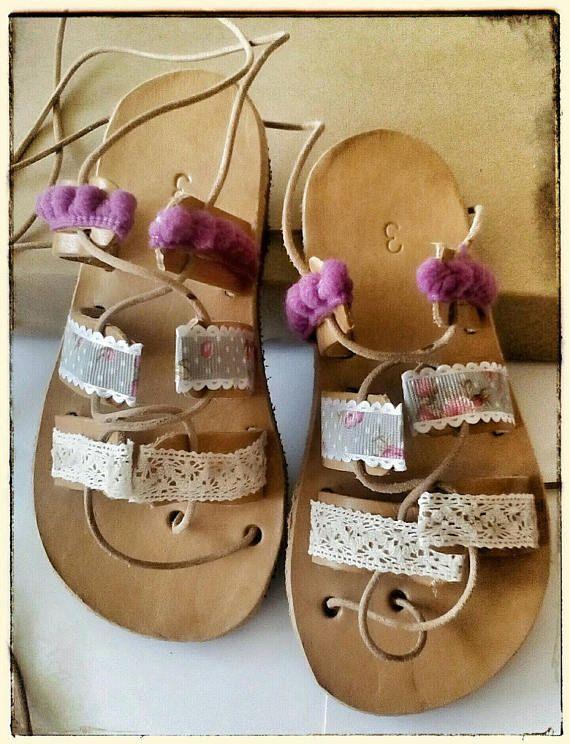 Baby girl sandals, toddler gladiator sandals, pom pom shoes, greek leather sandals, kids, sandals for babies, baby shoes girl, baby sandals