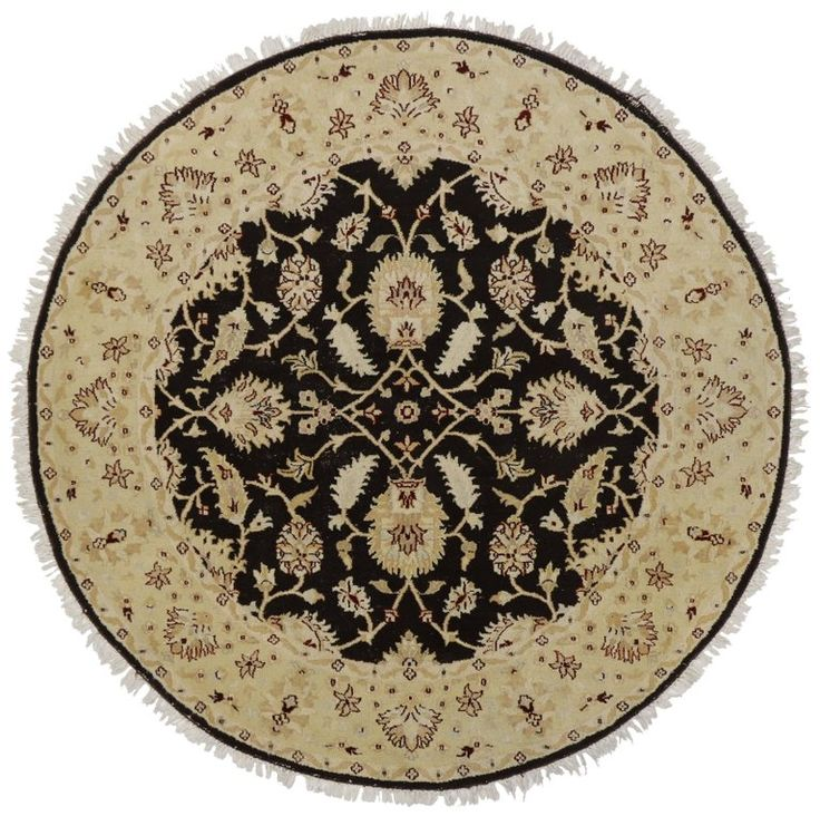 Round Vintage Indian Rug with Traditional Style   From a unique collection of antique and modern indian rugs at https://www.1stdibs.com/furniture/rugs-carpets/indian-rugs/