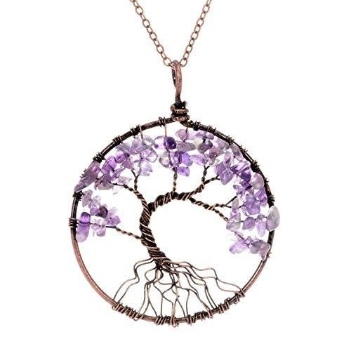 Tree of life pendant Necklace Amethyst pendant Vintage Wisdom Purple Birthstone February Gemstone Necklace Jwelleries Necklace Gifts for Women