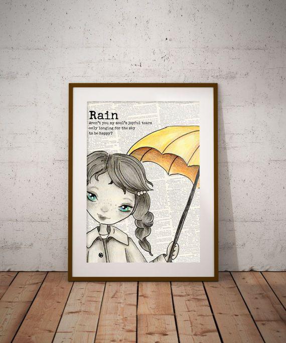 Vintage girl with umbrella Digital print Girl Nursery Wall