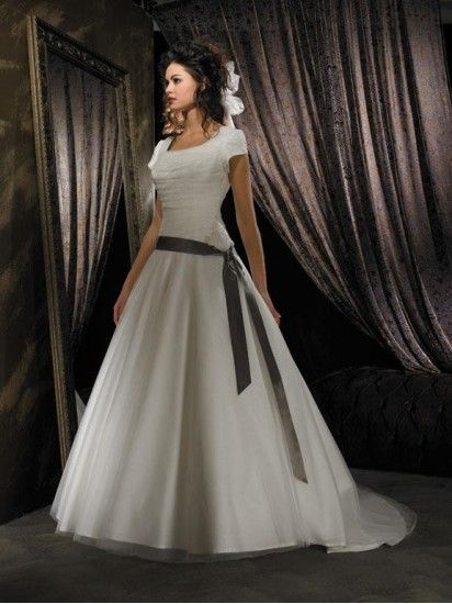 Strapless Taffeta Ball Gown Modest Wedding Dress With Sleeves $285. Sash would have to be coral, of course.