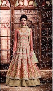 Salmon Color Banarasi Silk Embroidery Achkan Style Designer Lehenga Kameez | FH561283627 Follow us @heenastyle #lehenga #sangeet #outfit #Lehengakameez #party #celebration #dholak #fashion #happiness #style #ethnicwear #traditional #wedding #onlineshopping #lehengasuit #lehengadress #onlinestore #heenastyle #salwarkameez #dresses #suits #churidarkameez #indiafashion #onlinefashion #ethinicwear