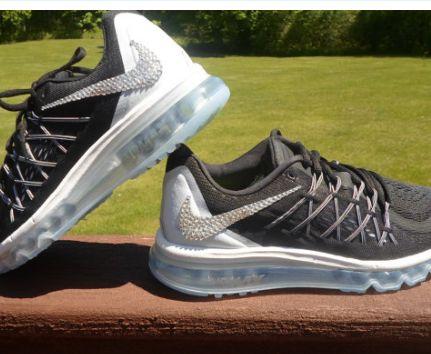 womens nike air max 2015 running shoes black silver swarovski nike bling shoes .