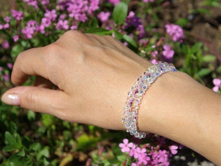 Swarovski AB Bracelet Briolette Bracelet Bridal Wedding Crystal Bracelet Swarovski Clear AB Bracelet Statement Bracelet Bridesmaid Jewelry by AuroraCrystalPassion on Etsy