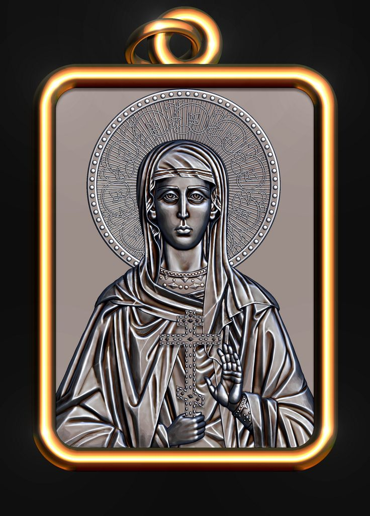 Holy Martyr Ariadne. Underwear icon. 3D model for CNC milling machine. Simulation programs: MoI, ArtCam, ZBrush. Private order.