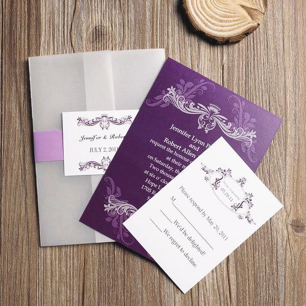 affordable vintage purple vellum paper pocket wedding invitations EWPI063