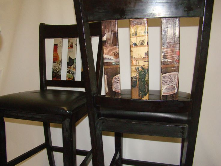 "Solid wood, leather seat, black and funky 60's decoupage , 24"" seat height ,pair of 2 bar stools $225, Item #CS-1001, SOLD http://www.findandtreasure.com/catalogue.html"