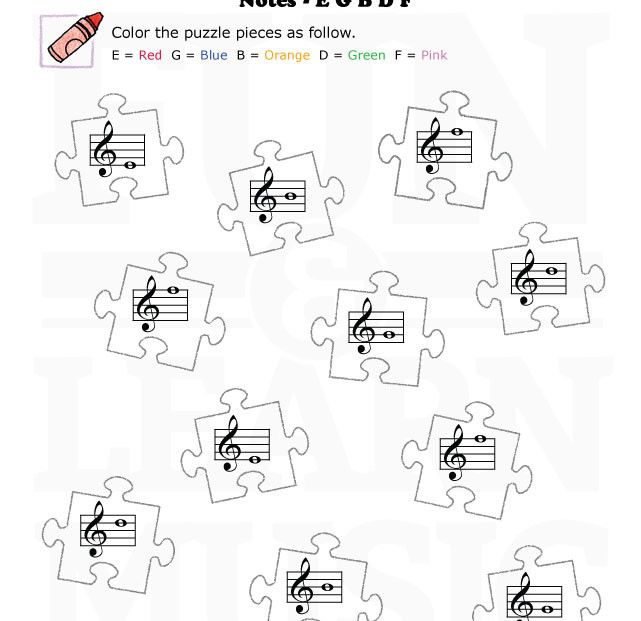 Puzzle Pieces With Line Notes In Treble Clef Note