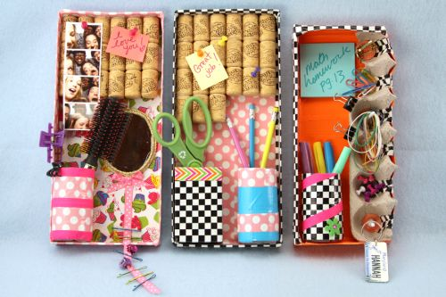 Put together this super cute organizer using shoe boxes and corks.
