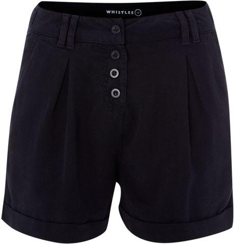 Whistles Mim Tencel Shorts in Blue (navy) - Lyst