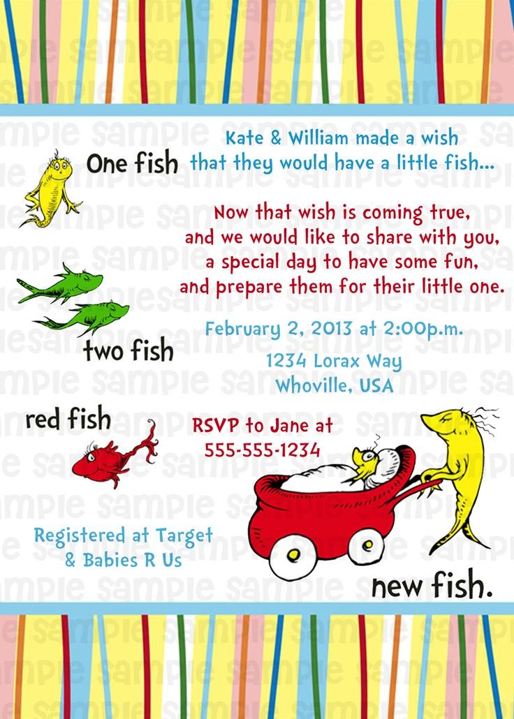 14 best dr suess invitations images on pinterest dr suess one dr suess one fish two fish blue baby shower invitation 11 filmwisefo